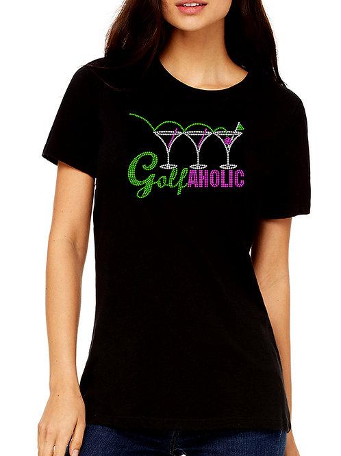 Golfaholic RHINESTONE T-Shirt or Tank Top BLING Golfer Golfing League Team