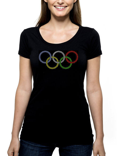 Olympic Ring Inspired RHINESTONE T-Shirt or Tank Top - BLING Sports Games