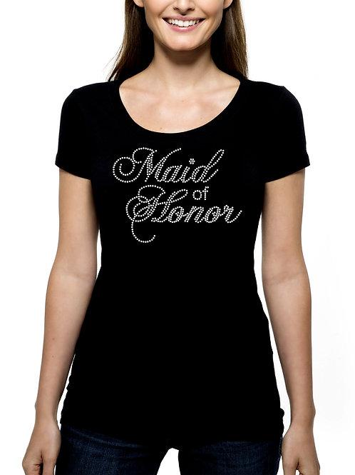 Maid of Honor RHINESTONE T-Shirt or Tank Top - BLING Fancy Script Wedding