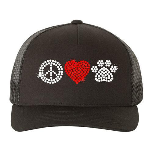 RHINESTONE Hat - Peace Love Paw - bling dogs cats animals love trucker snapback
