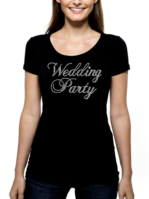 Wedding Party RHINESTONE T-Shirt or Tank Top - BLING Fancy Script Attendant