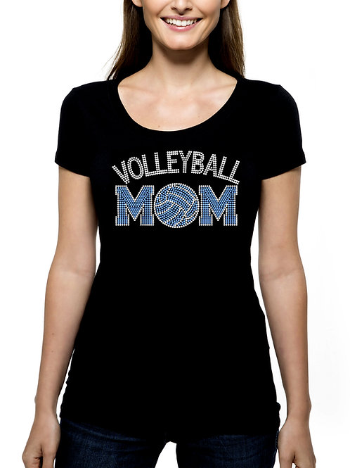 Volleyball Mom 2 RHINESTONE T-Shirt or Tank Top - BLING Sport Mother Ball
