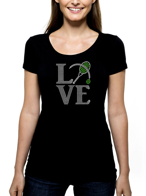 Tennis Love RHINESTONE T-Shirt or Tank Top - BLING Team Match Play