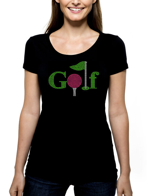 Golf RHINESTONE T-Shirt or Tank Top BLING Golfer Golfing League Team Tournament