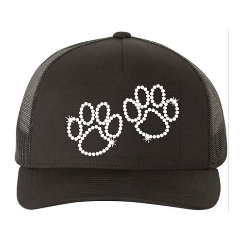 RHINESTONE Hat - Two Paws - bling dogs cats animals love trucker snapback 2 paw