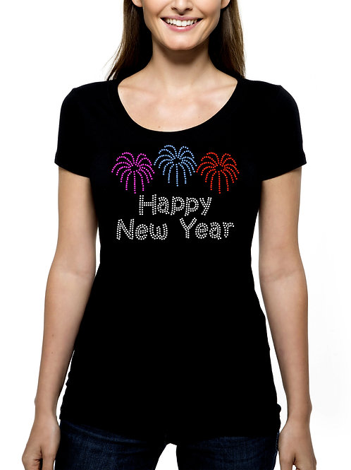 Happy New Year Fireworks RHINESTONE T-Shirt or Tank Top - BLING Eve Party 2020