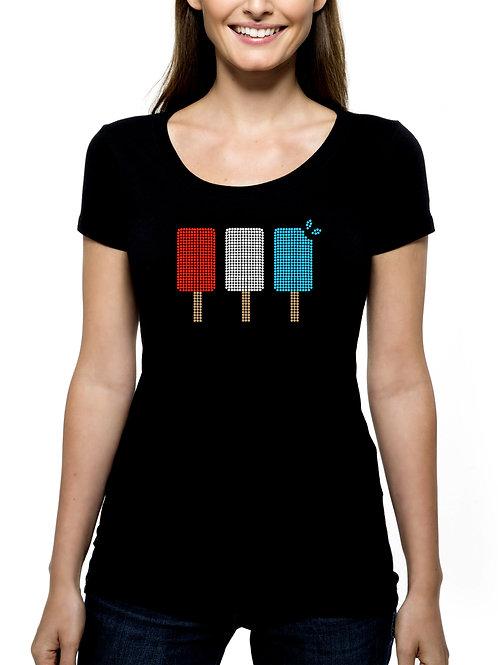 Popsicles RHINESTONE T-Shirt or Tank Top BLING Summer 4th July Ice Cream Man