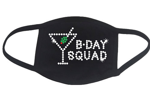 RHINESTONE Birthday Squad Martini Glass face mask cover - bling bday b-day party