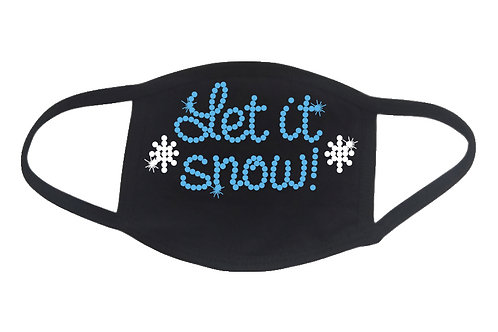 RHINESTONE  Let it Snow face mask - bling snowflake winter cold skiing ski sled