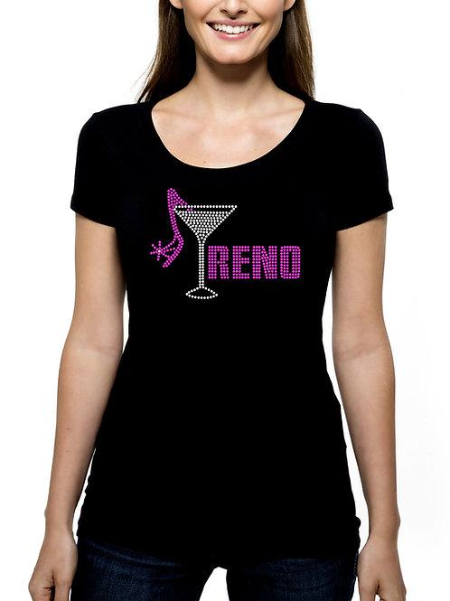 Reno Martini Shoe RHINESTONE T-Shirt or Tank - BLING Nevada Casinos Trip