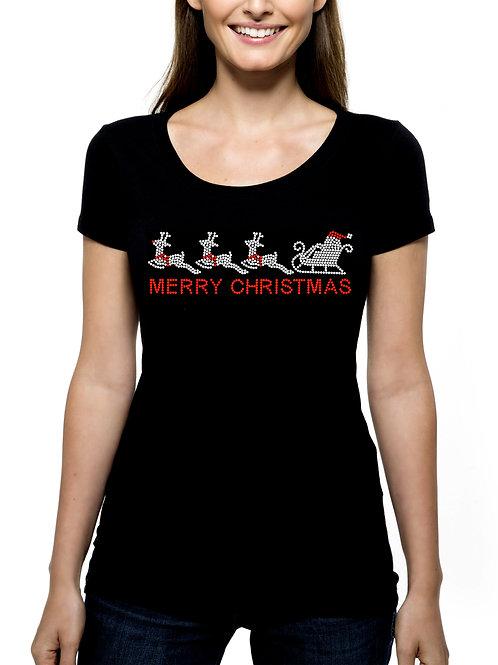 Santa's Sleigh RHINESTONE T-Shirt or Tank Top BLING Merry Christmas