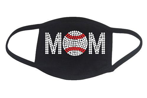 RHINESTONE Baseball Mom face mask - bling sports school team ball game