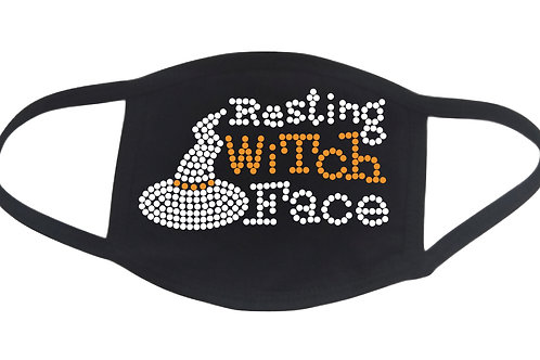RHINESTONE Resting Witch Face Halloween face mask - bling scary hat humor funny