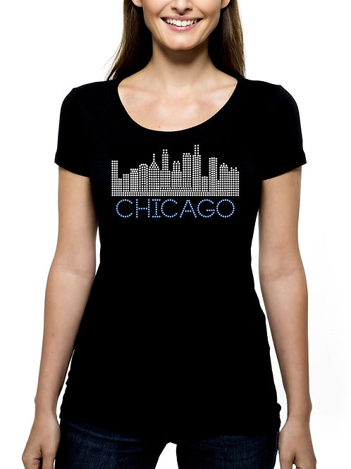 Chicago Skyline 2 RHINESTONE T-Shirt or Tank - BLING Windy City Illinois