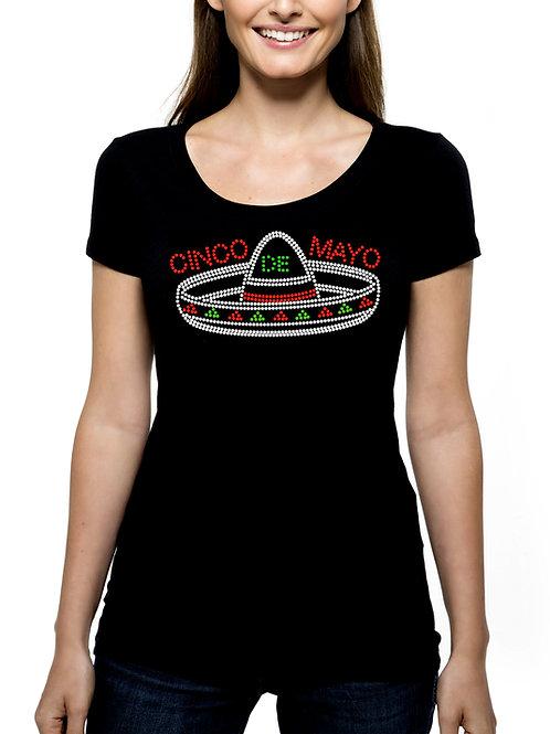 Cinco de Mayo Sombrero RHINESTONE T-Shirt or Tank Top - BLING Mexico Mexican