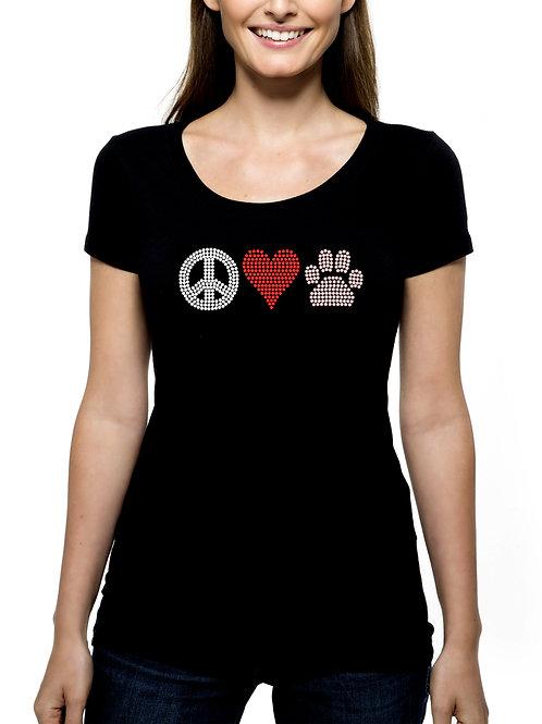 Peace Love Paw 1 RHINESTONE T-Shirt or Tank Top - BLING Animal Pet Dog Cat Heart