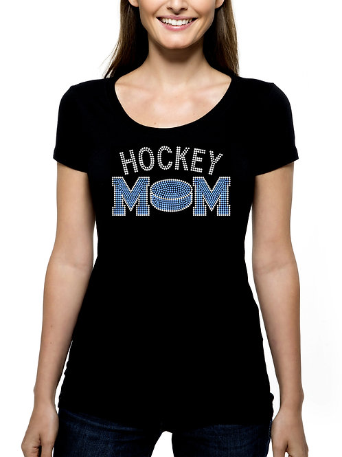 Hockey Mom Puck RHINESTONE T-Shirt or Tank Top - BLING Sport Mother Stick Game