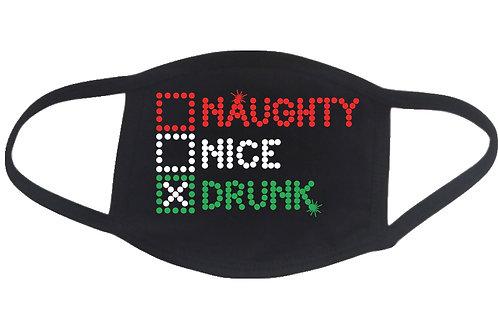 RHINESTONE Naughty Nice Drunk face mask - bling Christmas Xmas X-mas humor
