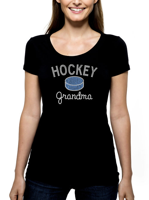 Hockey Grandma Puck RHINESTONE T-Shirt or Tank Top - BLING Sport Grandmother