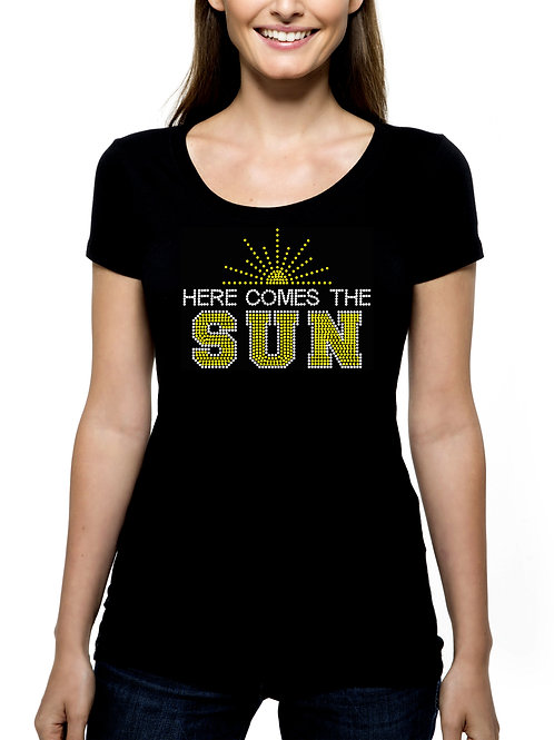 Here Comes The Sun RHINESTONE T-Shirt or Tank Top BLING Spring Summer Leland MI