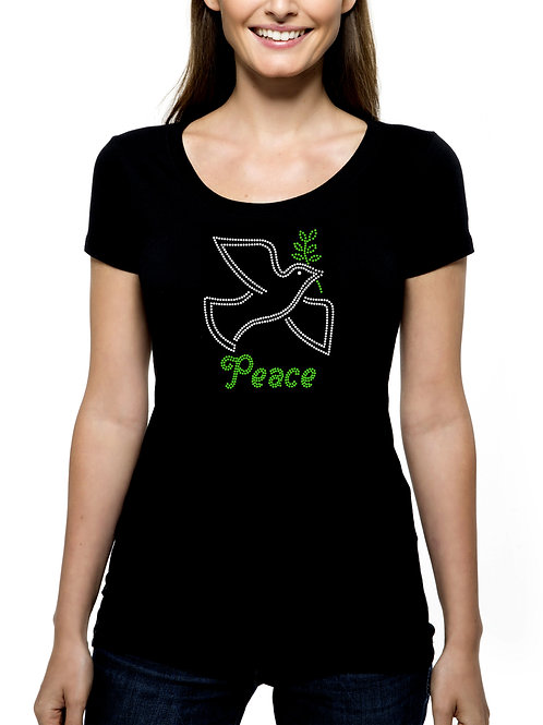 Peace RHINESTONE T-Shirt or Tank Top - BLING Christmas Dove Olive Branch