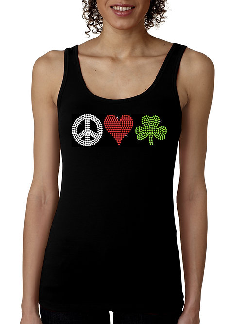 Peace Love Shamrock RHINESTONE T-Shirt or Tank Top - BLING St Patrick's Day