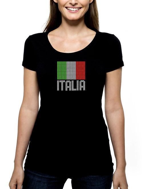 Italia Italian Flag RHINESTONE T-Shirt or Tank Top - BLING Italy Pride