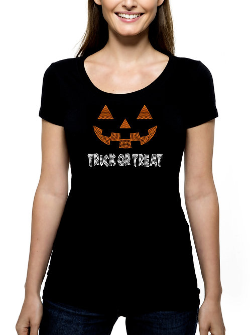 Trick or Treat Jack-o-Lantern Face RHINESTONE T-Shirt Tank Top - BLING Halloween