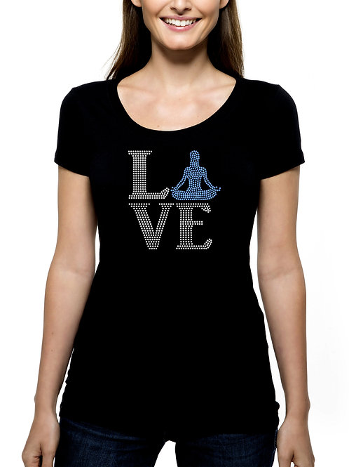 Yoga Love RHINESTONE T-Shirt or Tank Top - BLING Exercise Work Out