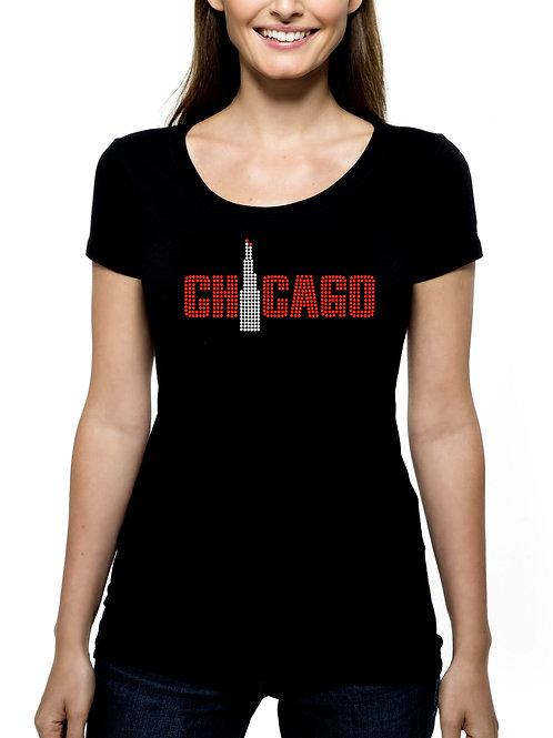 Chicago Sears Willis Tower RHINESTONE T-Shirt or Tank - BLING Windy City Trip