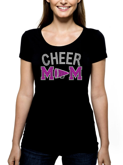 Cheer Mom RHINESTONE T-Shirt or Tank Top - BLING Sport Mother Cheerleader Squad