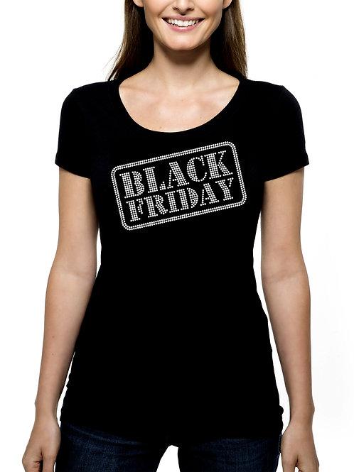 Black Friday Stamp RHINESTONE T-Shirt or Tank Top - BLING Shopping Buy Deals