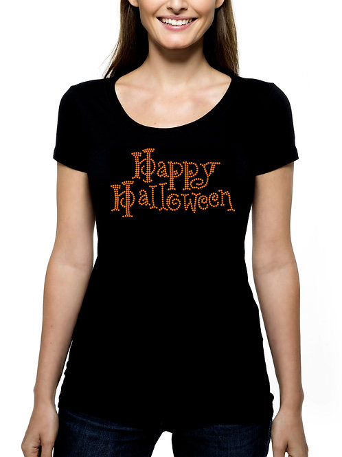 Happy Halloween RHINESTONE T-Shirt Tank Top - BLING Party Trick Treat Oct 31 Fun