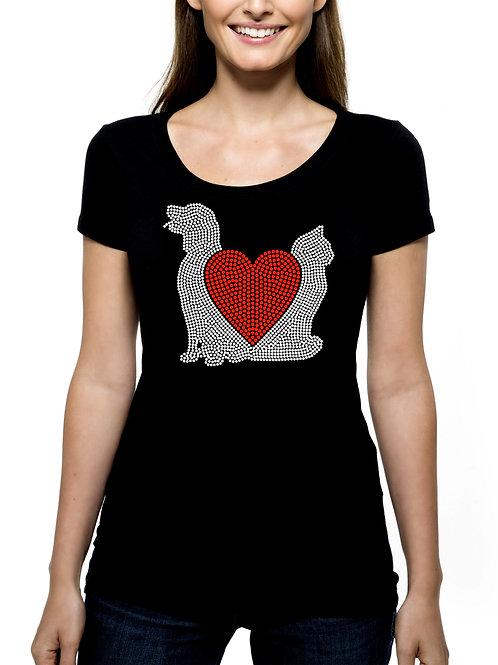 Love Dogs Cats Heart RHINESTONE T-Shirt or Tank Top - BLING Animal Pet Adopt