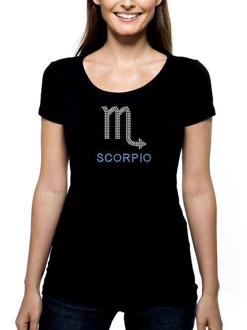 Scorpio Zodiac RHINESTONE T-Shirt or Tank Top - BLING Horoscope Astrology Stars