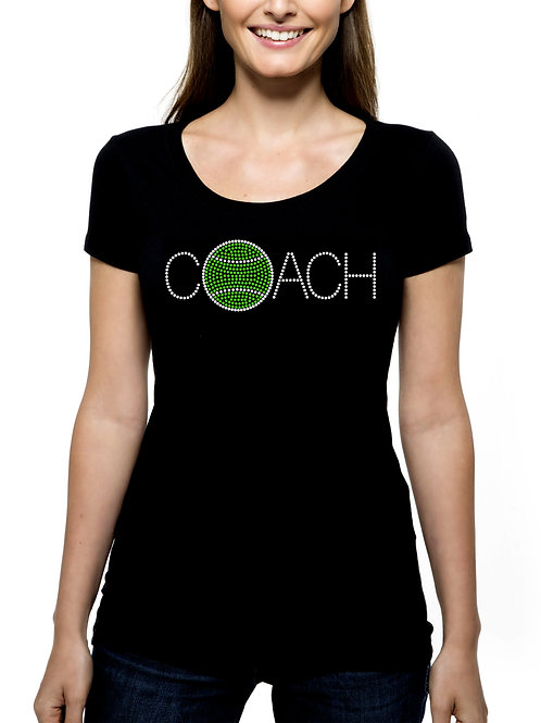 Tennis Coach RHINESTONE T-Shirt or Tank Top BLING Sports Team Leader