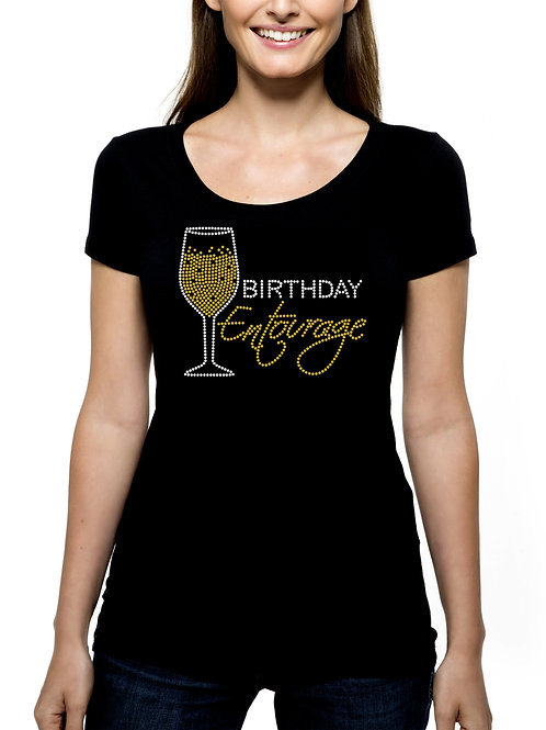 Birthday Entourage Champagne RHINESTONE T-Shirt or Tank Top - BLING Bubbly Drink