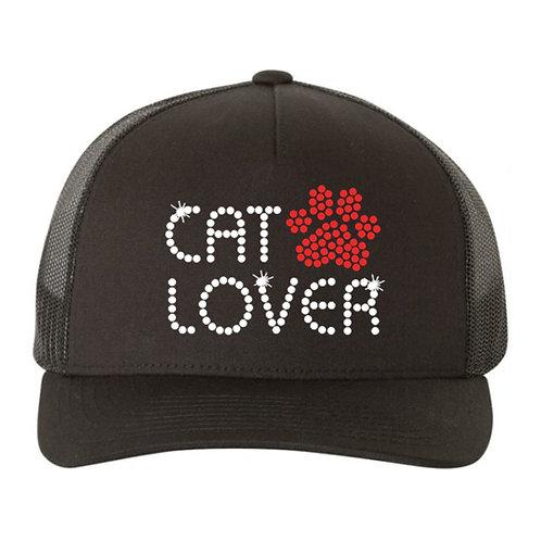 RHINESTONE Hat - Cat Lover - bling cats animals love trucker snapback kitty