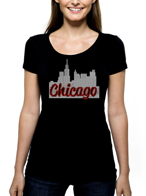 Chicago Skyline 1 RHINESTONE T-Shirt or Tank - BLING Windy City Illinois Trip