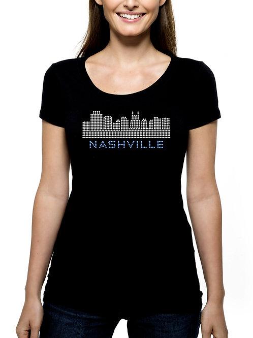 Nashville Skyline RHINESTONE T-Shirt or Tank - BLING Tennessee Trip Souvenir