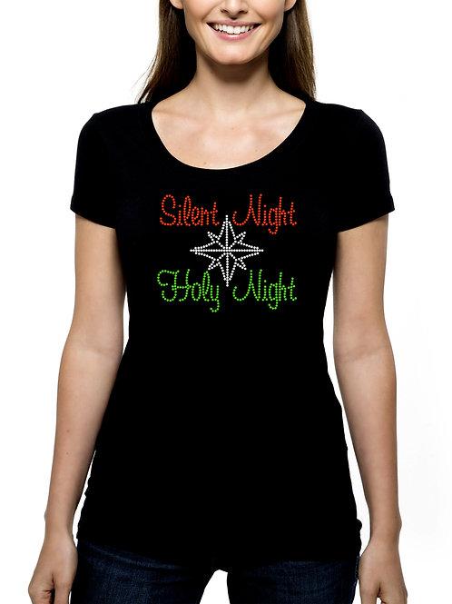 Silent Night Holy Night RHINESTONE T-Shirt or Tank Top BLING Christmas Jesus
