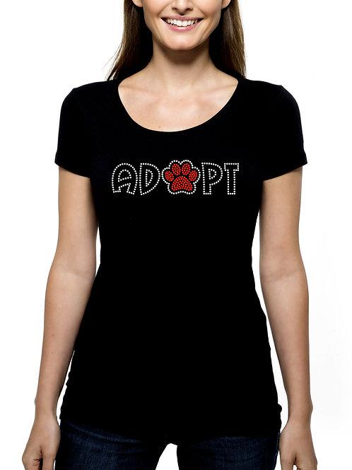 Adopt RHINESTONE T-Shirt or Tank Top - BLING Animal Pet Paw Dog Cat Shelter Save