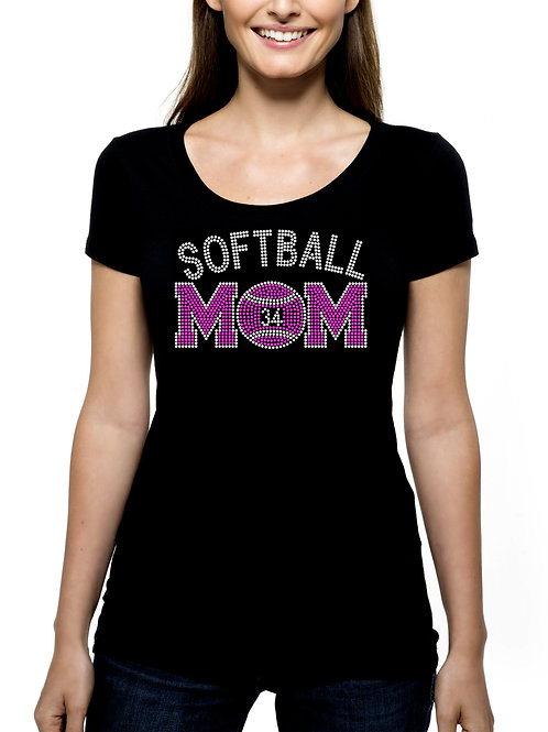 Softball Mom Custom Number RHINESTONE T-Shirt or Tank Top - BLING Sport Mother