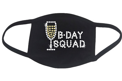 RHINESTONE Birthday Squad Champagne Glass face mask cover - bling b-day bday