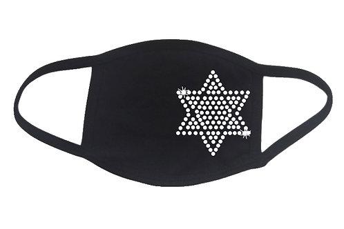 RHINESTONE Star of David face mask - bling religion - Pick Rhinestone Color