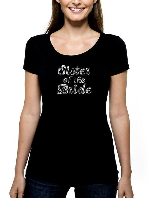 Sister of the Bride RHINESTONE T-Shirt or Tank Top BLING Cursive Wedding Bridal