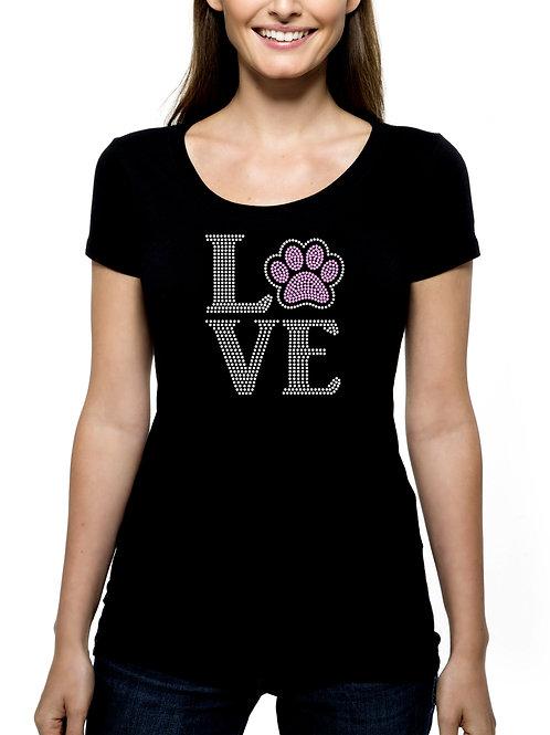 Love Paw RHINESTONE T-Shirt or Tank Top - BLING Dog Cat Animal Pet Adopt Shelter