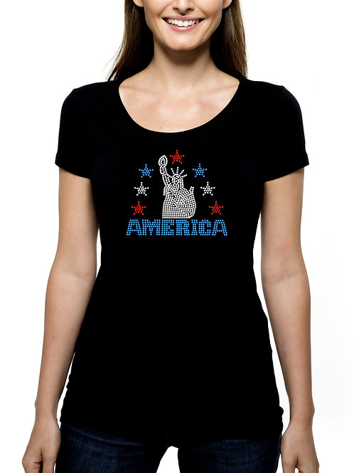 Statue of Liberty RHINESTONE T-Shirt or Tank Top BLING Independence Day 4th July