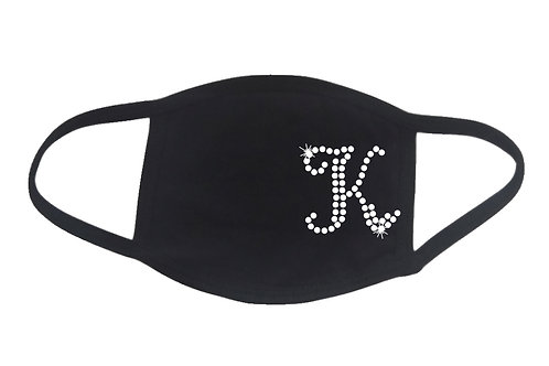 RHINESTONE K Monogram face mask bling initial name letter personalized