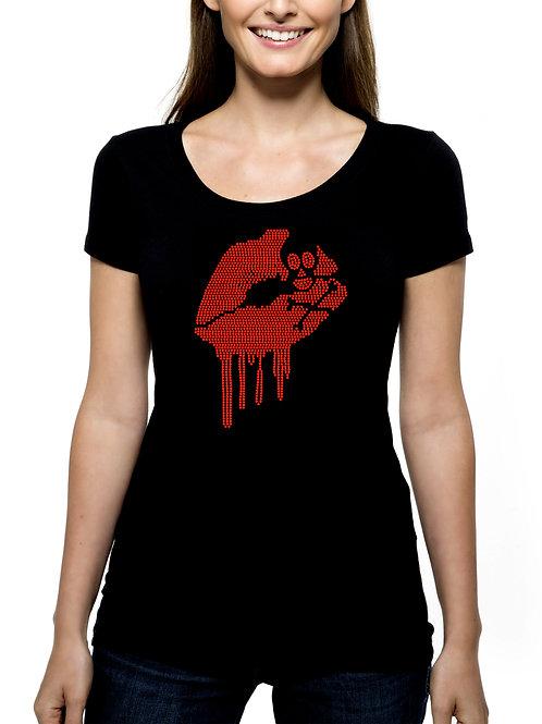 Lips Skull Crossbone RHINESTONE T-Shirt or Tank Top - BLING Halloween Blood